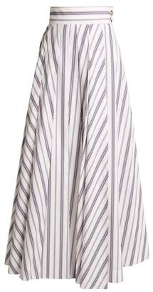 Awake Striped Cotton Maxi Skirt - Womens - White Multi