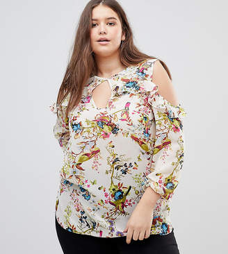 Lovedrobe Floral and Bird Print Cold Shoulder Ruffle Blouse
