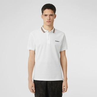 Burberry Icon Stripe Detail Cotton Piqué Polo Shirt