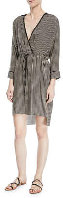 Halston Stripe-Print V-Neck Self-Tie Kaftan Dress