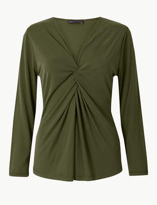Marks and Spencer Twisted Front V-Neck Long Sleeve Top
