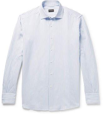 Ermenegildo Zegna Cutaway-Collar Striped Slub Linen And Cotton-Blend Shirt