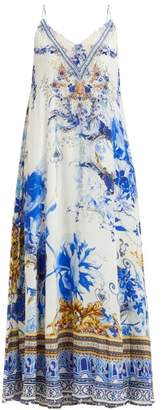 Camilla Saint Germaine Print Silk Maxi Dress - Womens - Blue Print