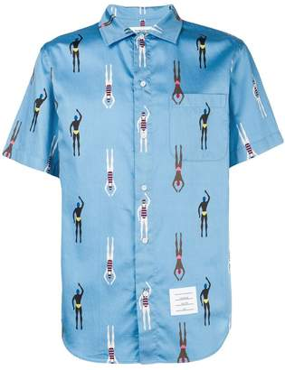 Thom Browne Swimmer Print Polo Collar Shirt