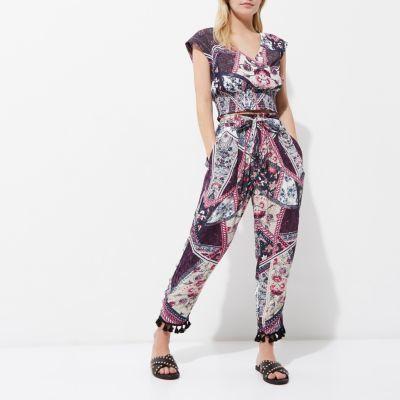 River IslandRiver Island Womens Petite purple floral tassel hem pants