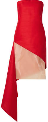 Dion Lee Asymmetric Organza-paneled Wool And Silk-blend Dress - Red
