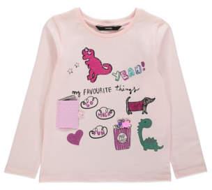 Bell Pink Embellished Dinosaur Long Sleeve Top
