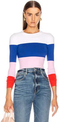 JoosTricot Long Sleeve Crew Neck Sweater in Laser White, Ultramarine, Wild Rose & Fire Poppy   FWRD