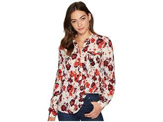 Lucky Brand Printed Chambray Popover Top Women's Clothing