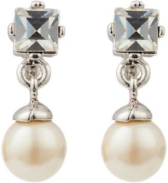 At John Lewis And Partners Susan Caplan Vintage Silver Plated Princess Cut Swarovski Crystal Faux Pearl Drop Earrings