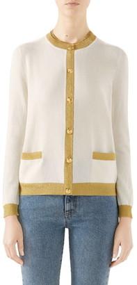 Gucci Metallic Trim Cashmere & Silk Cardigan