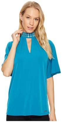 MICHAEL Michael Kors Grommet Neck Shirred Top Women's Clothing