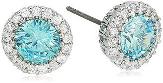 Kenneth Jay Lane Cz By Women's Round Aquamarine Cubic Zirconia Stud Earrings With Halo
