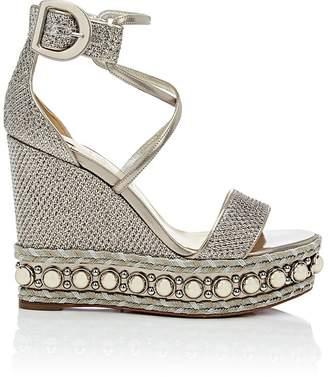 Christian Louboutin Women's Chocazeppa Glitter Mesh Platform-Wedge Sandals