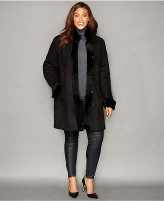 The Fur Vault Plus Size Shearling Lamb Stand-Collar Coat $2,795 thestylecure.com