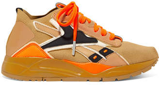 Reebok x Victoria Beckham Victoria Beckham Bolton Suede And Leather-trimmed Stretch-knit Sneakers - Saffron
