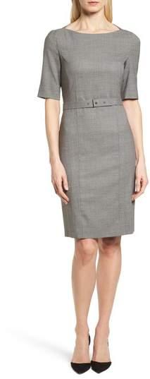 BOSS Dewisa Check Wool Sheath Dress