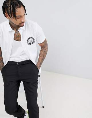 Versace Shirt In White With Tiger Logo Reg Fit