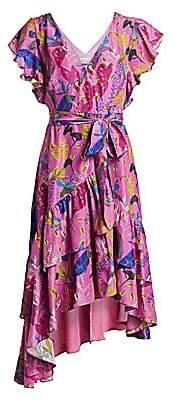 Tanya Taylor Women's Dita Print Silk Ruffled Wrap Dress - Size 0