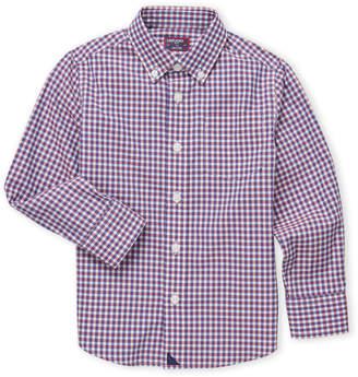 Untuckit (Boys 4-7) Gingham Button-Down Sport Shirt