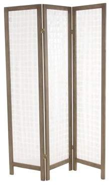 DecMode Decmode 71 X 55 Inch Traditional Pine Wood and Capiz 3-Section Panel Screen, Brown