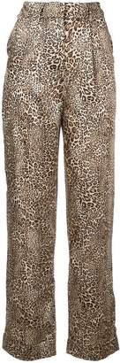 Ronny Kobo leopard print straight trousers