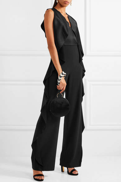 Alice + Olivia Sarandon Ruffle-trimmed Satin And Crepe Jumpsuit