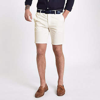 River Island White slim fit belted chino shorts