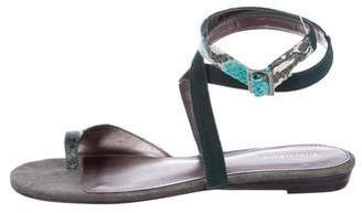 Calvin Klein Leather Embossed Sandals