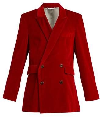 Aries Double Breasted Velvet Blazer - Womens - Red