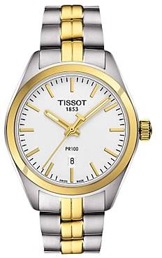 Tissot T1012102203100 Women's PR 100 Date Two Tone Bracelet Strap Watch, Silver/Gold
