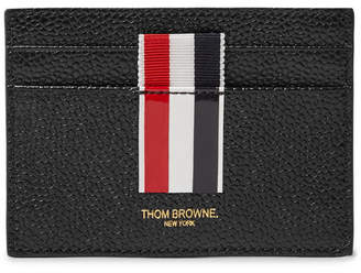 Thom Browne Grosgrain-Trimmed Pebble-Grain Leather Cardholder