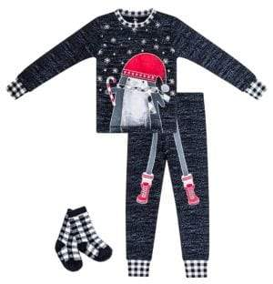 Petit Lem Baby Boy's Christmas Penguin Three-Piece Cotton Pajama Top, Pants & Socks Set