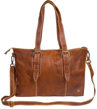 MAHI Leather - Leather Victoria Tote Handbag In Vintage Brown With Cream Stitching Detail