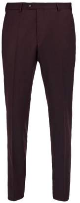 Officine Generale Paul Wool Flannel Trousers - Mens - Burgundy