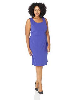 Kasper Women's Plus Sleeveless Square Neck Drapey Crepe Dress with Seaming