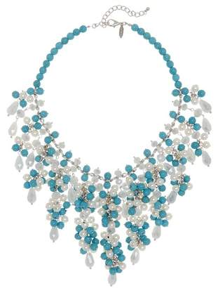 Natasha Accessories Simulated Pearl & Beaded Statement Collar Necklace