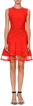 Alexander McQueen Sleeveless Jacquard-Knit Flared Dress