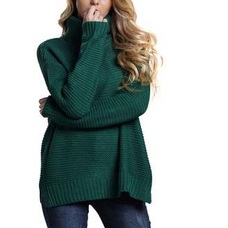 Belgius Chunky Turtleneck Sweater Women Winter Warm Knit Solid Color Pullover Sweater L