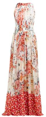 Carolina Herrera Floral Print Gathered Silk Chiffon Gown - Womens - White Multi