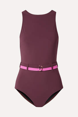 Karla Colletto Katherine Belted Swimsuit - Burgundy