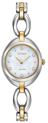 Citizen Women's Eco-Drive Silhouette Crystal Two-Tone Stainless Bracelet Watch, 24mm
