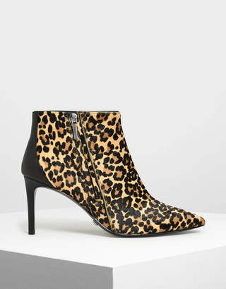 Charles & Keith Pony Hair Leopard Print Boots