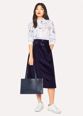 Paul Smith Women's Indigo Corduroy A-Line Midi Skirt With Belt