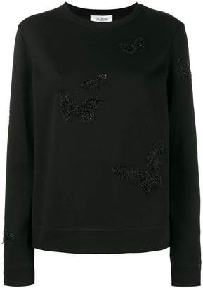 Valentino beaded butterfly sweatshirt