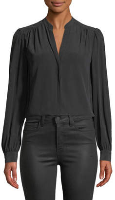 L'Agence Raquel Shirred Button-Back Silk Top