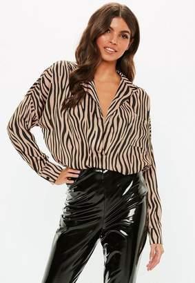 Missguided Bronze Zebra Print Oversized Plunge Shirt