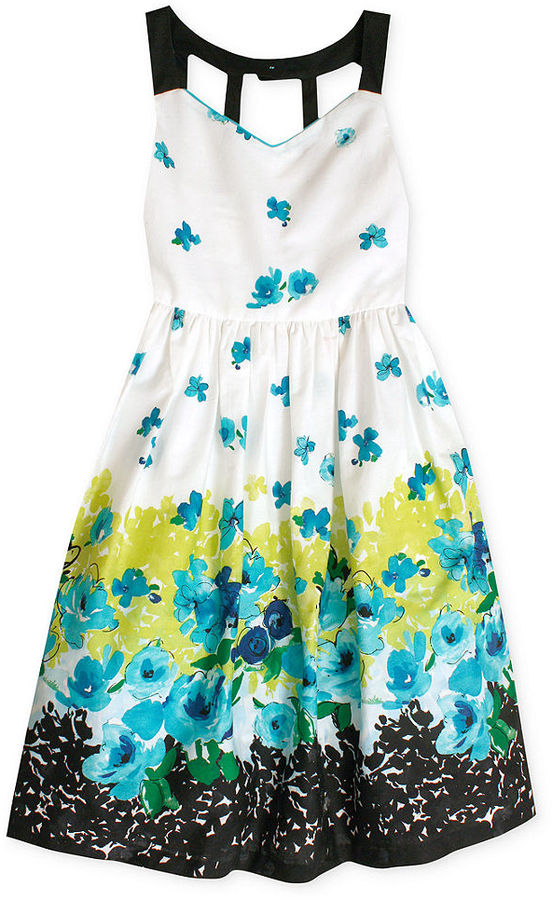Bonnie Jean Girls Dress, Girls Border Print Dress