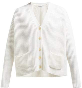 Allude V Neck Ribbed Cashmere Cardigan - Womens - Ivory