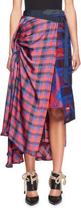 Sacai Mixed-Plaid Midi Wrap Skirt